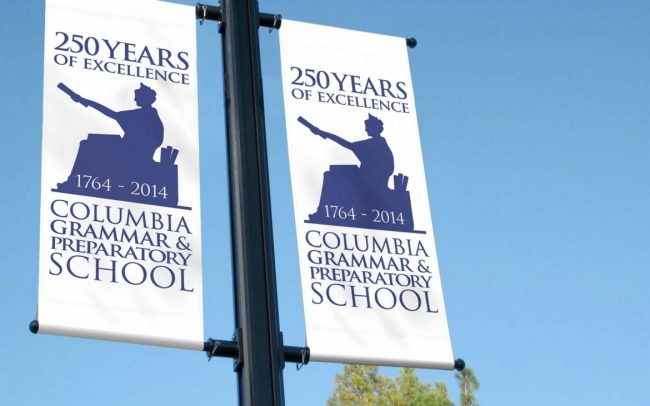 Columbia Grammar 250th Anniversary Lamppost Signage